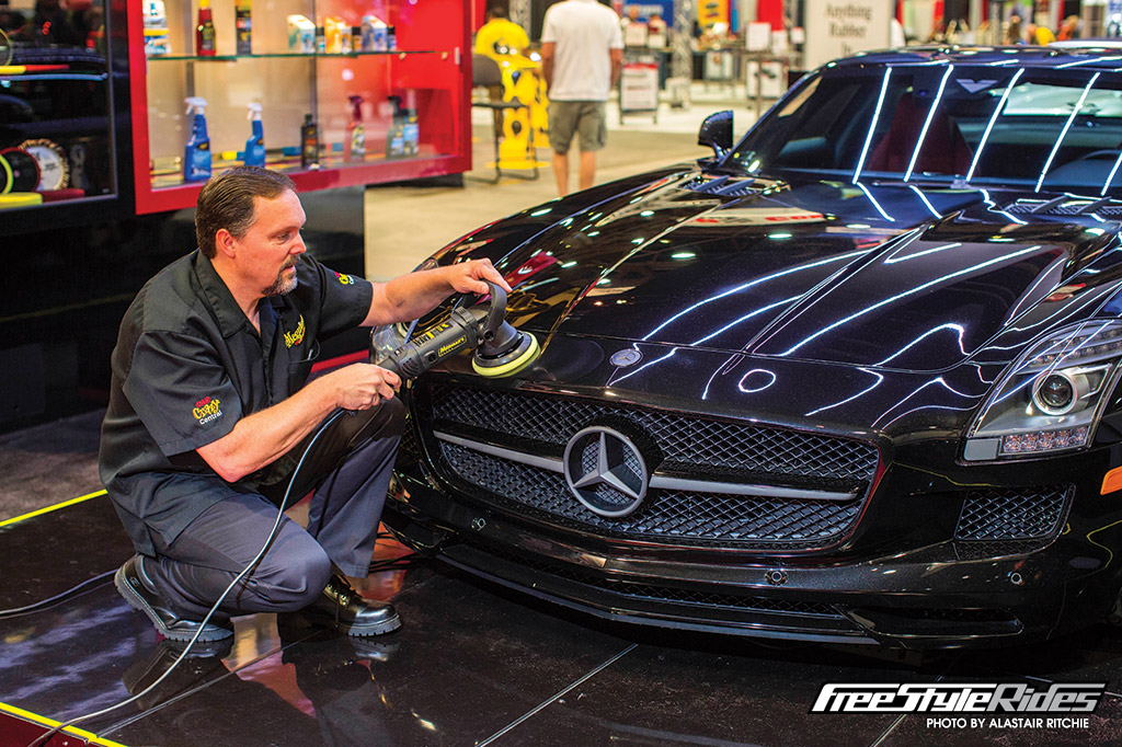 Meguiar's massive involvement in SEMA starts well before the doors even open, via an army of Meguiar's detailing pros pouring hours and hours into transforming a host of other exhibitors' machinery into mind-blowing show stoppers